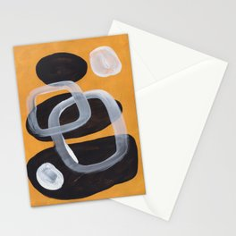 Mid Century Abstract Black & Yellow Fun Pattern Vintage Black White Bubbles Stationery Cards