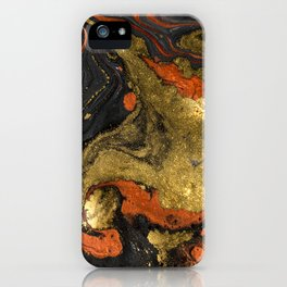 Abstract Pour Painting Liquid Marble Black Orange Painting Gold Accent iPhone Case