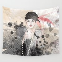 fashion illustration Wall Tapestries featuring FASHION ILLUSTRATION 12 by Justyna Kucharska