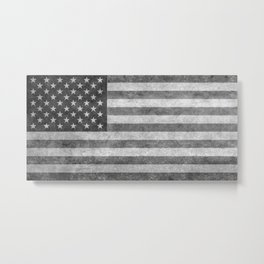 USA flag - Grayscale high quality image Metal Print