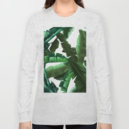 tropical banana leaves pattern 2 Long Sleeve T-shirt
