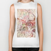 pittsburgh Biker Tanks featuring Pittsburgh by MapMapMaps.Watercolors