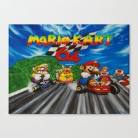 mario kart Canvas Prints featuring Mario Kart by Ulyana Trots Art