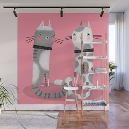 CATS ON PINK Wall Mural