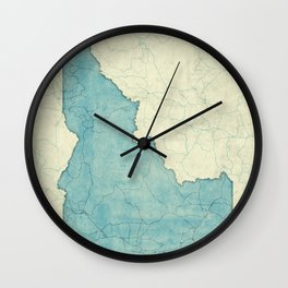 Idaho State Map Blue Vintage Wall Clock