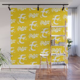 Mid Century Modern Bird Pattern Yellow Wall Mural