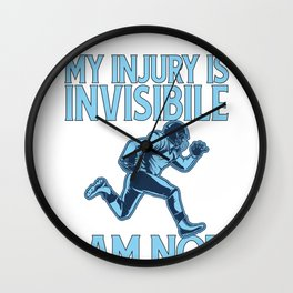 Football Concussion My Injury is Invisible I am Not TBI Wall Clock