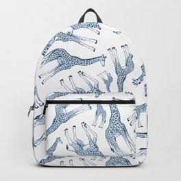 Navy Blue Giraffes on White Backpack