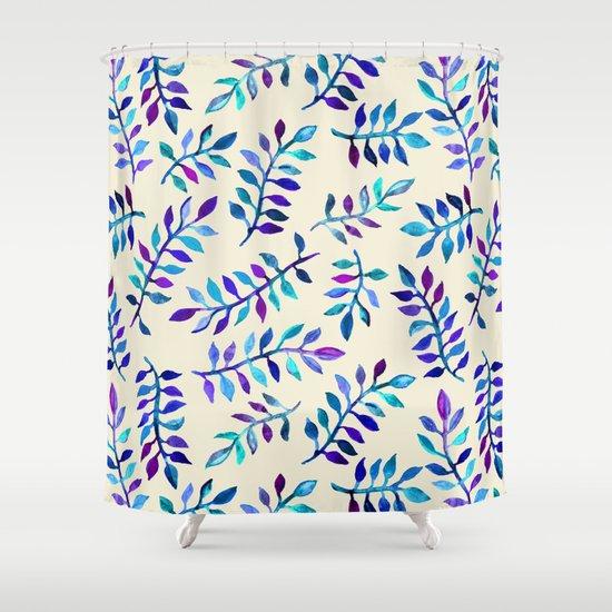 Hand Painted Purple & Aqua Leaf Pattern on Cream Shower Curtain