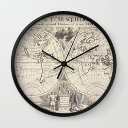 A new map of the terraqueous globe according to the latest discoveries and most general divisions of it into continents and oceans.Additional Present  Wall Clock