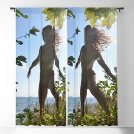 0040-JML Nude Woman Naked on Birch Lake Superior Shore Sandy Beach Fit Girl Beautiful Free Natural Blackout Curtain