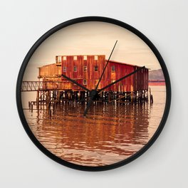 Old Red Net Shed, Building on Pier, Columbia River, Astoria Oregon Wall Clock