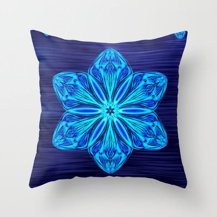 Snowy Cerulean Sea Throw Pillow