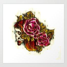 Tattoo Flash grunge....skull rose Art Print