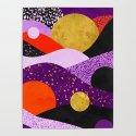 Terrazzo galaxy purple orange gold by sylvaincombe
