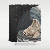 outer space Shower Curtains featuring Creatures from outer space by Steph Bourne