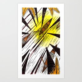 FLOATING MARKET| WOOD-CUT | ORANGE |PRINT DOWNLOAD Art Print