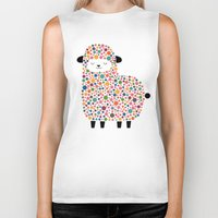 sheep Biker Tanks featuring Bubble Sheep by Andy Westface