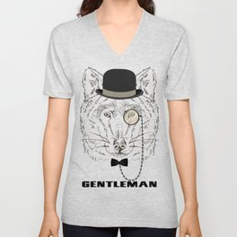 Gentleman Wolf with monocle Unisex V-Neck