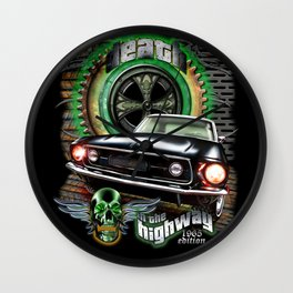 Death in the highway Wall Clock