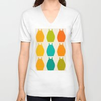 calcifer V-neck T-shirts featuring my neighbor pattern by ururuty