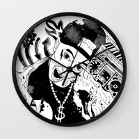 rap Wall Clocks featuring rap by Dagmara Jagodzinska