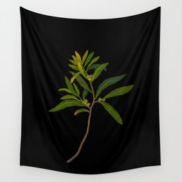 Ilex Angustifolia Mary Delany Vintage Floral Collage Botanical Flowers Black Background Wall Tapestry