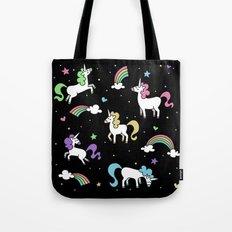 Unicorns and Rainbows - Black Tote Bag