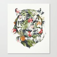 tiger Canvas Prints featuring Tropical tiger by Robert Farkas