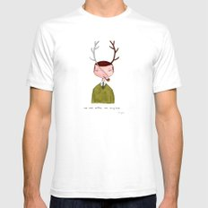 One real antler, one imagined SMALL White Mens Fitted Tee