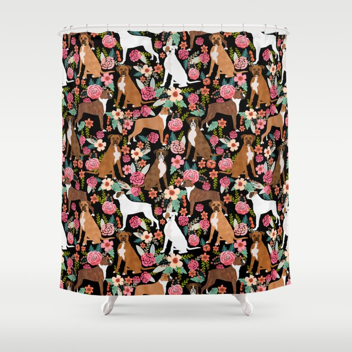 Boxer Fl Dog Breed Gifts For Pet Fls Boxers Must Haves Shower Curtain
