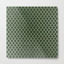 Forest green faux gold stylish moroccan quatrefoil Metal Print