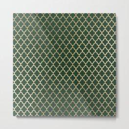 Forest green faux gold stylish moroccan quatrefoil Metal Print
