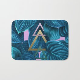 tropical turquoise leaves pattern Bath Mat