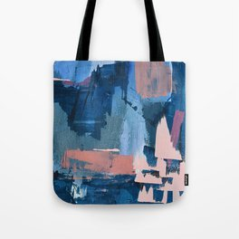 Rhythm of Rain: a modern abstract piece by Alyssa Hamilton Art in blues and pinks Tote Bag
