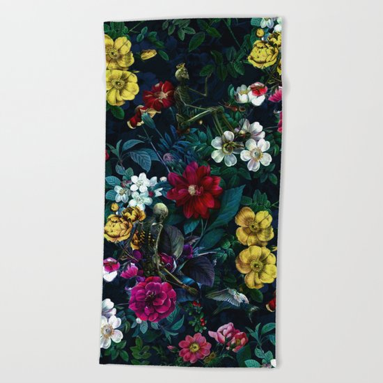 Flowers and Skeletons Beach Towel