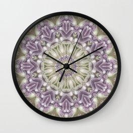 Lilac and Green Mandala Wall Clock