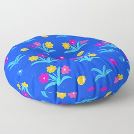 Easter Floral Pattern In Electric Blue, Pink & Yellow Floor Pillow
