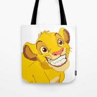 simba Tote Bags featuring Simba Pixel Art by Luxatr
