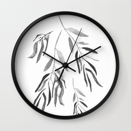 Eucalyptus Branches II Black And White Wall Clock