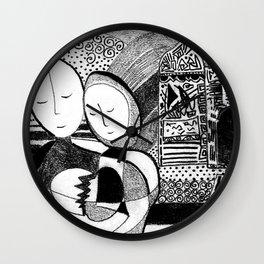 Healing Black and White Drawing: 'Love' Wall Clock