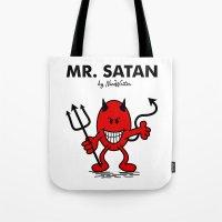 satan Tote Bags featuring Mr Satan by NicoWriter