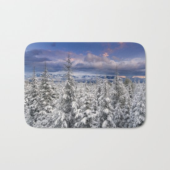 """Mountain Light III"" Snowy Forest At Sunset Bath Mat"