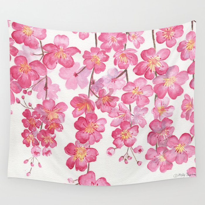 Weeping Cherry Blossom Wall Tapestry