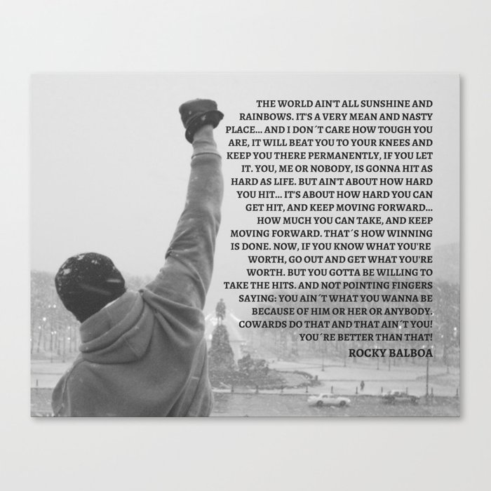 Rocky Balboa, Rocky poster, Rocky, Boxing, boxing speech, Inspirational Wall art, rocky balboa quote Canvas Print