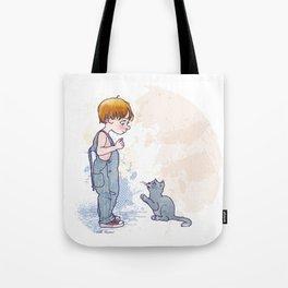 kid and cat Tote Bag