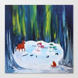 Christmas Night with dancing snowmen Canvas Print