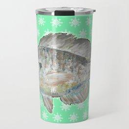 Bluegill and Green Wallpaper Design Travel Mug