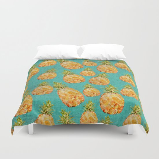 Summer pineapple fruit holiday fun pattern Duvet Cover