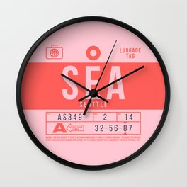 Retro Airline Luggage Tag 2.0 - SEA Seattle Tacoma International Airport Washington Wall Clock